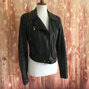 Express Black Faux Leather Gold Studded Jacket
